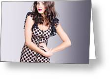 Beautiful Brunette Girl Wearing Retro Zipper Dress Greeting Card