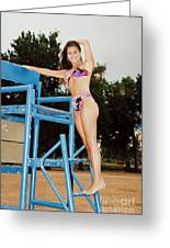Beautiful Brunette Model At The Beach Greeting Card