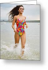 Beautiful Brunette Model On The Beach Greeting Card