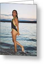 Beautiful Brunette On The Beach Greeting Card