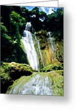 Beautiful Cascades Of Mele Falls Surrounded By Lush Foliage Greeting Card