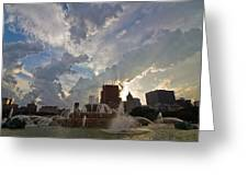 Beautiful Clouds Over Buckingham Fountain Greeting Card