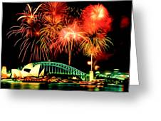 Beautiful Colorful Holiday Fireworks 2 Greeting Card