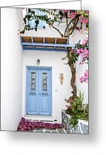 beautiful door Paros Greeting Card