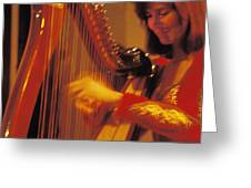 Beautiful Harp Player Greeting Card