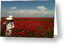 Beautiful Lady And Red Poppies Greeting Card