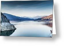 Beautiful Landscape Of The Lake Vidraru Romania Greeting Card