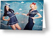 Beautiful Navy Pinup Girls On Marine Background Greeting Card