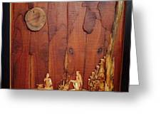 Beautiful Night Artwork With Wooden Waste Greeting Card
