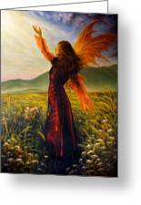 Beautiful Painting Oil On Canvas Of A Fairy Woman In A Historic Dress Standing In Rays Of Sunlight A Greeting Card