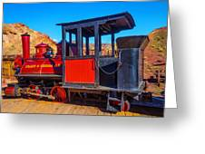 Beautiful Red Calico Train Greeting Card