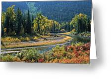 Beautiful River Bottom In Vivid Autumn Colors Greeting Card