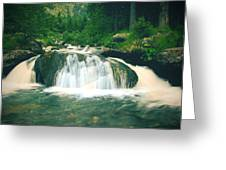 Beautiful River Flowing In Mountain Forest Greeting Card