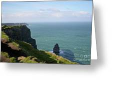 Beautiful Rocky Towering Sea Cliffs Along The Cliff's Of Moher Greeting Card