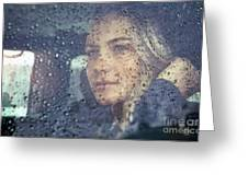 Beautiful Sad Woman In The Car Greeting Card