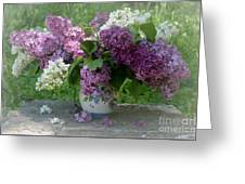 Beautiful Spring Flowers In A Vase Greeting Card