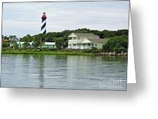 Beautiful St Augustine Lighthouse Waterfront Greeting Card