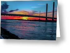 Beautiful Sunset Under The Bridge Greeting Card