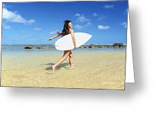 Beautiful Surfer Girl Greeting Card