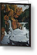 Beautiful Swans Moving In The River Path Greeting Card