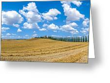Beautiful Tuscany Landscape With Traditional Farm House And Dram Greeting Card