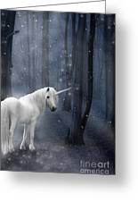 Beautiful Unicorn In Snowy Forest Greeting Card