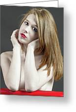 Beautiful White Woman On Red Chair Greeting Card