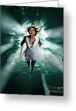Beautiful Woman Diving In The Water Greeting Card