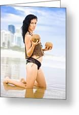 Beautiful Woman In Beach Heaven Greeting Card