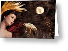 Beautiful Woman With Colorful Hair Extensions Greeting Card