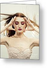 Beautiful Woman With Windswept Hair Greeting Card