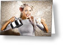 Beautiful Young Retro Woman With Cup Of Coffee Greeting Card