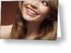Beautiful Young Smiling Woman Greeting Card by Oleksiy Maksymenko