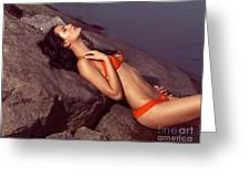 Beautiful Young Woman In Orange Bikini Greeting Card