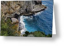 Beautifully Carved Out Swimming Deck On The Edge Of The Sea On The Amalfi Coast In Italy  Greeting Card