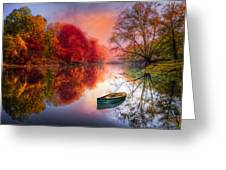 Beauty At The Lake Greeting Card by Debra and Dave Vanderlaan