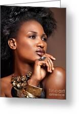 Beauty Portrait Of Black Woman Wearing Jewelry Greeting Card