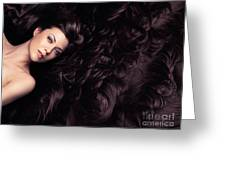 Beauty Portrait Of Woman Surrounded By Long Brown Hair  Greeting Card