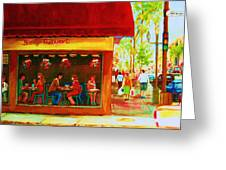 Beautys Cafe With Red Awning Greeting Card