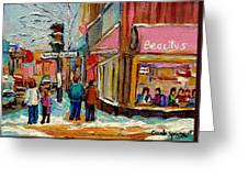 Beautys Luncheonette Montreal Greeting Card