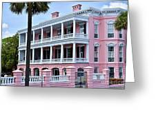 Beauutiful Pink Colonial Style Mansion Greeting Card