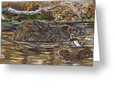Beaver Family Animal Vignette Greeting Card