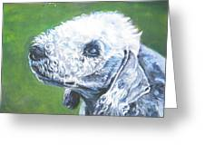 Bedlington Terrier With Butterfly Greeting Card