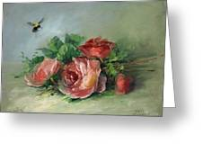 Bee And Roses On A Table Greeting Card