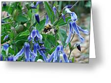 Bee Buzzing Through Blue Beauty Greeting Card