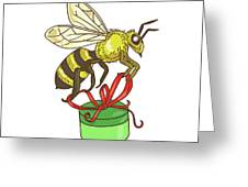 Bee Carrying Gift Box Drawing Greeting Card