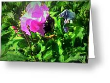 Bee Climbing Into Flower Greeting Card