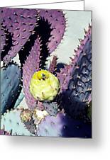 Bee In The Cactus Flower  Greeting Card