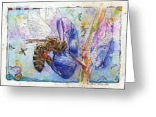 Bee On Blue Lupin Blossom. Greeting Card