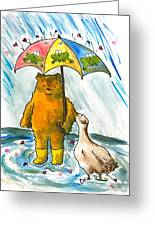 Beebs And Goosey In The Rain Greeting Card